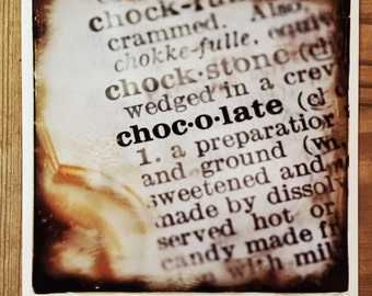 Chocolate - photo print - sweet candy sepia text dictionary definition - macro photograph of few of my favorite love things by Jean Lannen