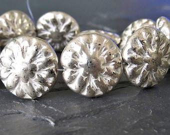 Antique Silver Dahlia Czech Glass 14mm Flower Beads : 6 pc Silver Dahlia Flower