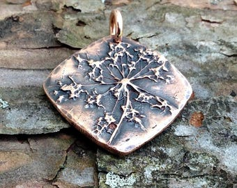 Queen Anne's Lace Flower Charm, Botanical, Rustic Wildflower Jewelry, Flower Jewlery, Odd Shapped Copper Flower Pendant