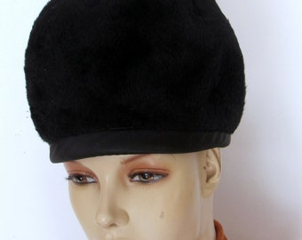 1960's Vintage Hat Black Mohair Bubble Hat with Bow Union Made
