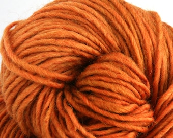 Brunswick Hand Dyed chunky weight 70/30 Corriedale wool Mohair blend yarn 140 yds 4oz Carrot Juice