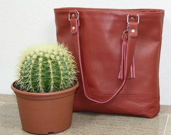 Business bag, upcycled red leather bag, reused leather bag, laptop bag, work bag, school bag, upcycled bag