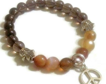 Smoky Quartz Striped Agate Hamsa bead Peace charm bracelet