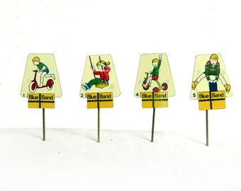 4 Vintage 60's Advertising Stick Pins - 1960s Metal Lapel Pin Lot - Children Playing - Blue Band Butter - Dutch Collectibles