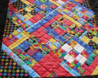 Whimsical Art Quilted Wall Hanging, Detailed Diagonal Quilt, Small Fabric Pieces, Colorful, Fun Quilt