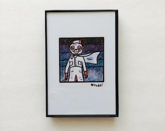 Art, Fantastic Mr Fox, Print, Ash bandit mask, 4 x 6 inches, Wes Anderson, movies, film geek, Jason Schwartzman, framed artwork, wall decor