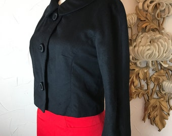 1950s jacket wool jacket black jacket size medium cropped jacket Blin and Blin jacket Vintage jacket 50s blazer