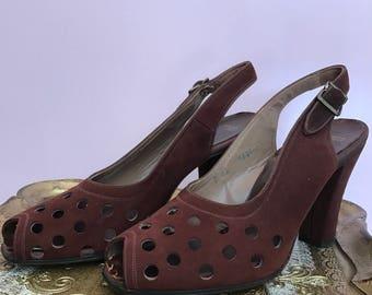 1940s shoes polka dot shoes vintage shoes size 6 suede heels peep toe heels 1940s heels de liso debs
