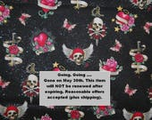 2 YARDS Skull Pirate FABRIC novelty Ed Hardy style Sailor Jerry cotton