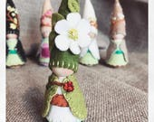 Reserved for Kirsten Custom made Dogwood Tree Gnome Waldorf Inspired  Painting Pixie Storytelling Elf Faerie Dollhouse Doll