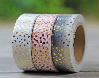 Polka dot washi tape, hombre washi tape with polka dots, gold polka dot washi tape