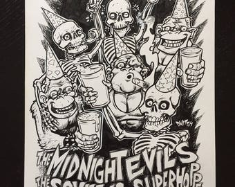 The Midnight Evils gigposter original drawing