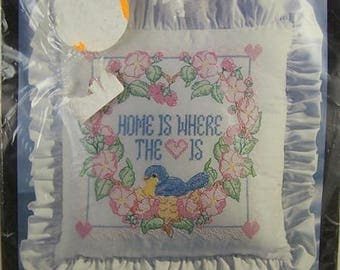 Vintage Bucilla Home Is Where...Pillow Cross Stitch Stamped Home Decor Kit 40912