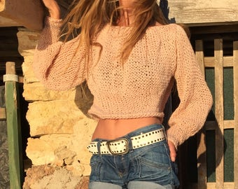 Off shoulder pink cropped sweater, puff sleeve