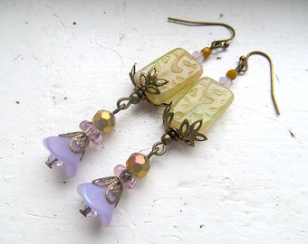 Victorian Earrings, Vintage Dangles, Antiqued Brass Jewelry, Boho chic, Green Tea, Lavender, Glass Bead Dangles