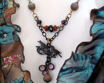 Bohemian Lovebirds Pendant Necklace, Gypsy Necklace, Crystal Cluster Pendant, Black Chain, Gypsy Colors, moonlilydesigns, Dementia Awareness
