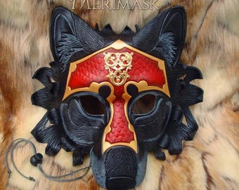 READY TO SHIP Armored Dire Wolf Mask ... handmade original leather mask masquerade mardi gras steampunk halloween burning man costume