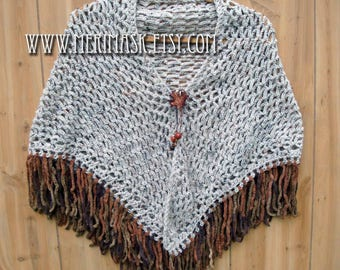 Maple Oatmeal Crochet Shawl... knit crocheted fringed yarn leather leaf tie bohemian boho