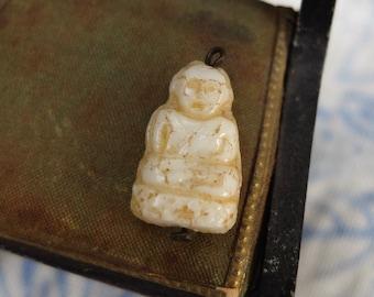 Vintage Glass Charm Czechoslovkia Pressed Glass Buddha