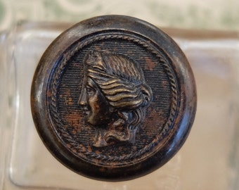 Vintage Metal Cameo Button Lady Liberty