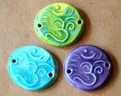 3 Handmade Ceramic Beads - Sweet Set of Bracelet Beads - Om Link Beads in Spring Colors
