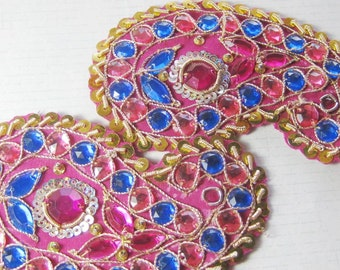 Applique Beaded Indian paisley traditional pair 10.5 cm long Pink Purple