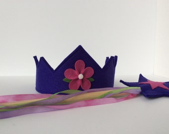 Wool Felt Crown and Wand -- silk and wool Fairy Child play set-- indigo and berry with silk streamers