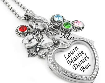Mom Jewelry, Mom Personalized Necklace, Mother Pendant, Gift for Mom, Grandma, Nana, Mother's Locket, Heart Locket