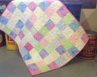 Handmade baby quilt flannel patchwork pink and pastel colors snuggle blanket for girls