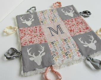 Baby Lovey Girl Blanket with Custom Hand Embroidery Name Or Initial ~ Choice of Backing Fabric ~ Woodland Creatures  ~ Floral ~ Gray Peach
