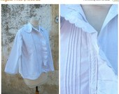 ON SALE 20% Vintage Antique 1900 French Edwardian large collar handmade embroiderys shirt size S/M