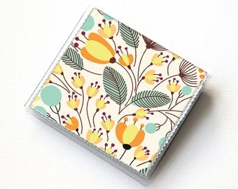 Handmade Vinyl Moo Square Card Holder - Piano Floral / case, vinyl, snap, wallet, paper, mini card case, moo case, square, floral, flowery