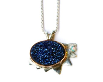 Blue Druzy and Opal Pendant Handmade in Sterling Silver with 14k Gold Fill Bezel