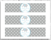 SALE Printable Light Blue and Gray Elephant Thank Heaven for Little Boys Baby Shower Water Bottle Labels - Polka Dots - Instant Download