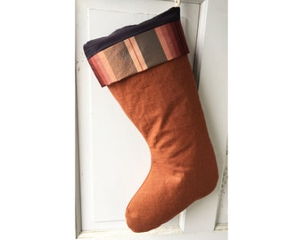 Rust Linen Christmas Stocking with Plum Lining - Heirloom Holiday Decor