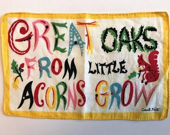 CARL TAIT Great Oaks From Little Acorns Grow Vintage Linen Cocktail Napkin to Frame Proverb Saying