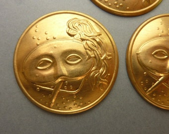 3 Vintage Mask Stampings Art Deco Theater - Brass