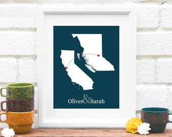 State and Province Heart Map, Personalized Miss You Gift, Long Distance Map, Canadian Province and US State Heart Connection Map - 8x10