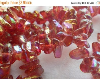 ON SALE 18% off Red AB Glass Chip Beads 6-10mm  250 Pcs