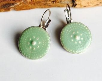 Vintage Enamel Dangle Earrings, Light Green Enamel, Disc Earrings, Drop Earrings, Unique Earrings, Etsy, Etsy Jewelry