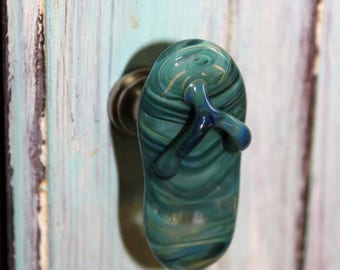 Teal glass flip flop drawer pull/knob