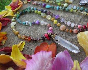Funky OOAK Rainbow and Clear Quartz Necklace - Extra Long Bohemian Style - Gemstone Bohemian Vibe Gypsy Jewelry - Boho Chakra Gift for Her