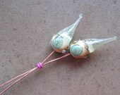 Lampwork Headpins - Glass Headpins - Sea Foam Glass Headpins - Copper wire - Glass Headpins Pair - SueBeads - Headpins