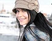 SALE Etta Hat- chestnut herringbone, womens newsboy, womens hat, womens cap, fall hat, wool hat