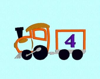 Birthday Train 4 applique machine embroidery design file