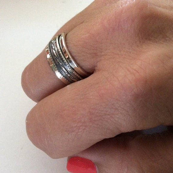 Sterling Silver band, unisex band, simple band, Spinner ring, wedding band, meditation ring, wedding ring, filigree band - Affection R2147