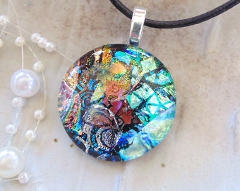 Dichroic Glass Pendant, Necklace, Fused Glass Jewelry, Copper, Green, Necklace Included, One of a Kind, A12