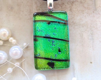 Green Necklace, Black, Dichroic Necklace, Fused Glass Jewelry, Fused Pendant, Necklace Included, A4