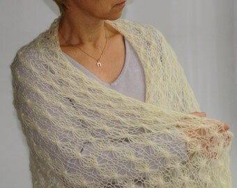 Free shipping, gift for her, Lace ivory scarf-shawl-hand knitted, gift for her, ready to ship
