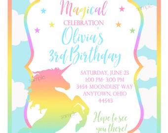 Pastel Unicorn Invitations,Unicorn Birthday Party, Unicorn Invites,Magical, Fairytale, Rainbow, Girls